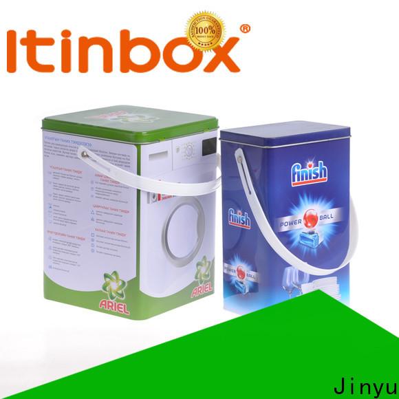 Jinyu laundry detergent tin box popular for supermarket