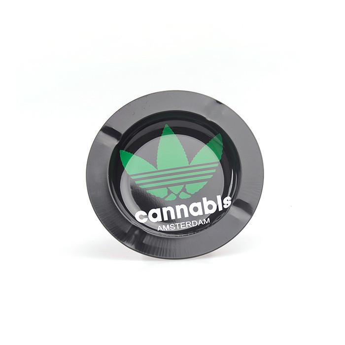 Round tin ashtray