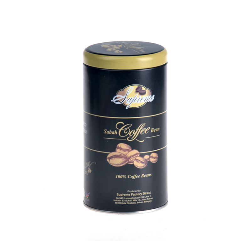 Round coffee tin box with double lid