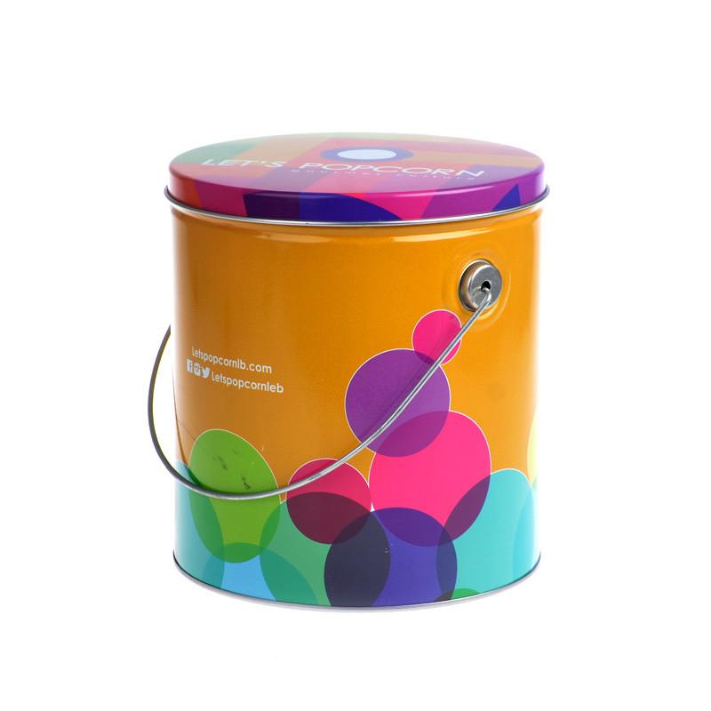 Round popcorn tin bucket